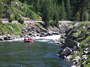 Payette River - Rafters prepare for rapids on the North Fork near Banks, close to the beginning of the main stem of the Payette