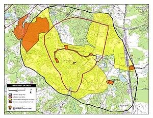 Battle of Peebles's Farm - Map of Peebles' Farm Battlefield core and study areas by the American Battlefield Protection Program.