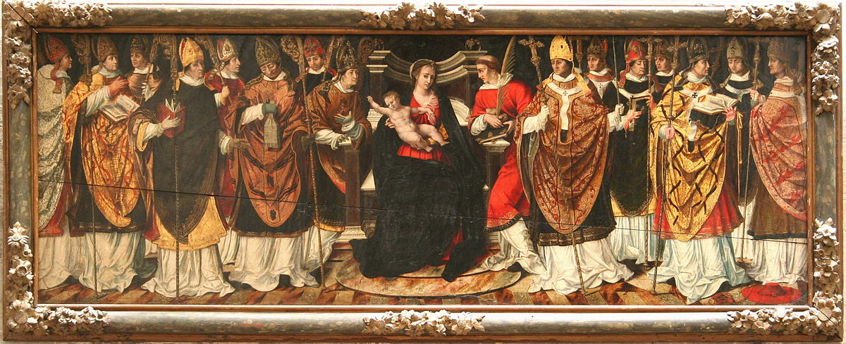Council of bishops presided over by the virgin wikidata for Peintures sur bois