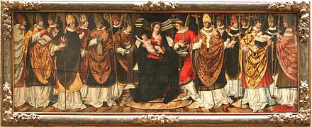 Provincial council, probably representing the condemnation of the bishop Contumeliosus, sixth from the left Peinture-sur-bois-Arles.jpg