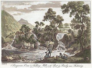 Pengwern, Corn & Fulling Mills, with Pont y Pandy, near Festiniog