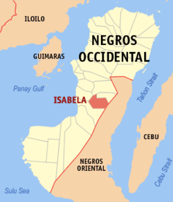 Mapa ti Negros Occidental a mangipakita ti lokasion ti Isabela, Negros Occidental.