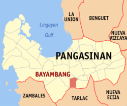 Map of Pangasinan showing the location of Bayambang