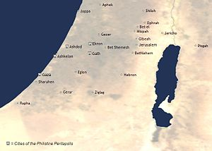 Philistines - The biblical description identifies five Philistine cities: Gaza, Ashdod, Ashkelon, Ekron, and Gath.
