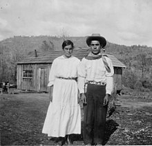 Photograph with text of a Mono couple living near Northfork, California. This is from a survey report of Fresno and... - NARA - 296289 (cropped).jpg