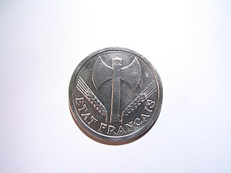 Travail, famille, patrie - Obverse of the two franc coin of 1943. Etat Français means French State.