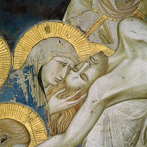 Love of Christ - Detail of a Pietro Lorenzetti fresco showing the death of Christ, Assisi, c. 1320.