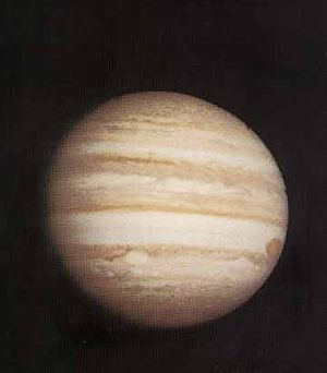 A highly stark photograph of Jupiter by Pioneer 10