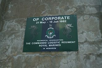 British ground forces in the Falklands War - Memorial plaque to the Commando Logistic Regiment at Ajax Bay,