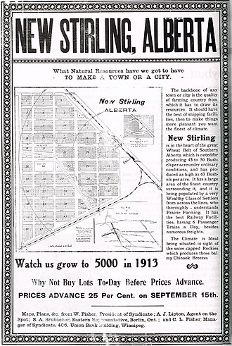 "Stirling, Alberta - Poster advertising lots in ""New Stirling"""