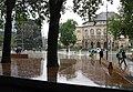 Platz der Alten Synagoge in Freiburg im Regen, im Hintergrund die Universitätsbibliothek und das Stadttheater (rechts).jpg
