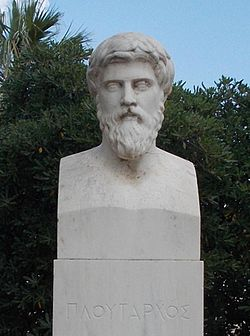 Modern portrait at Chaeronea, based on a bust from Delphi tentatively identified as Plutarch.