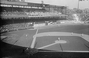 1923 New York Giants season - The Polo Grounds during the 1923 season, with outfield seating expansion in progress.