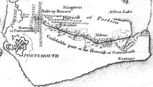 Portsmouth and Arundel Canal - A map of the planned route of Portsmouth and Arundel Canal across Portsea Island from 1815