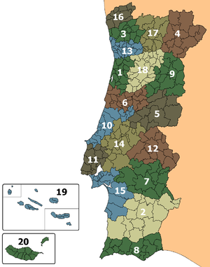 Municipalities of Portugal - The 18 districts and 2 autonomous regions of Portugal, subdivided into their municipalities.