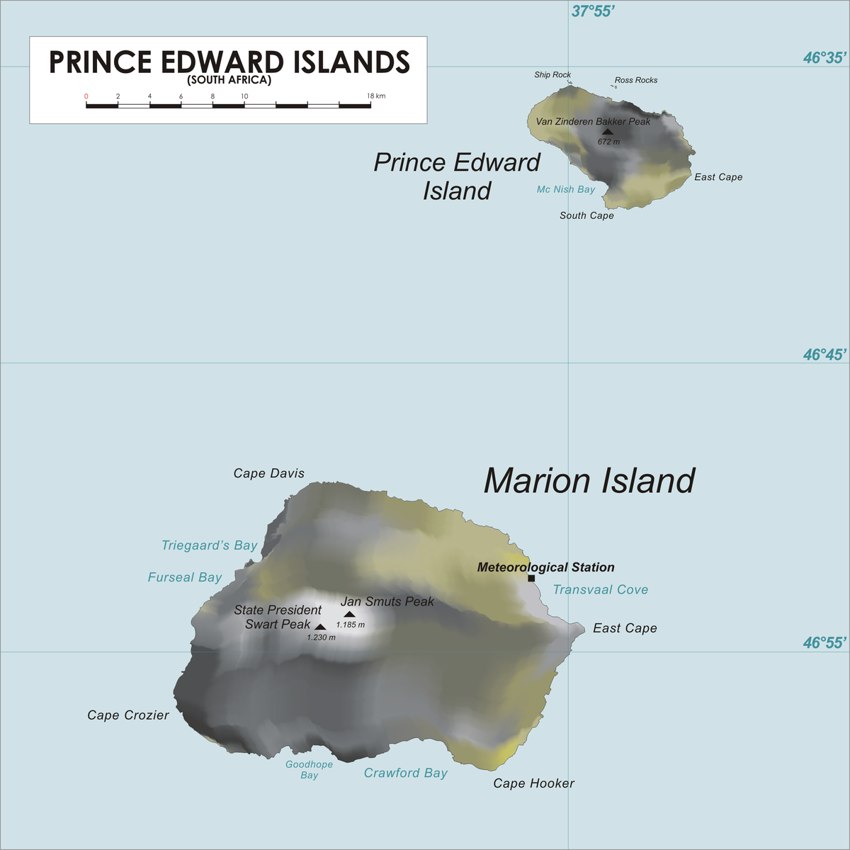 South African Islands Map Prince Edward Islands   Wikipedia