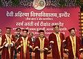 Pranab Mukherjee at the convocation ceremony of Devi Ahilya Vishwavidayalaya, at Indore, in Madhya Pradesh. The Speaker, Lok Sabha, Smt. Sumitra Mahajan, The Governor of Madhya Pradesh.jpg