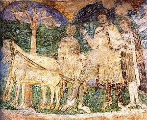 Znojmo Rotunda - Part of the fresco in the Rotunda of St. Catherine (Přemysl the Ploughman)