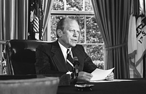 Pardon of Richard Nixon - President Ford announces his decision to pardon Nixon, September 8, 1974, in the Oval Office