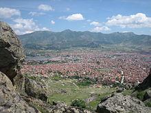 Photographie d'un panorama sur la ville de Prilep