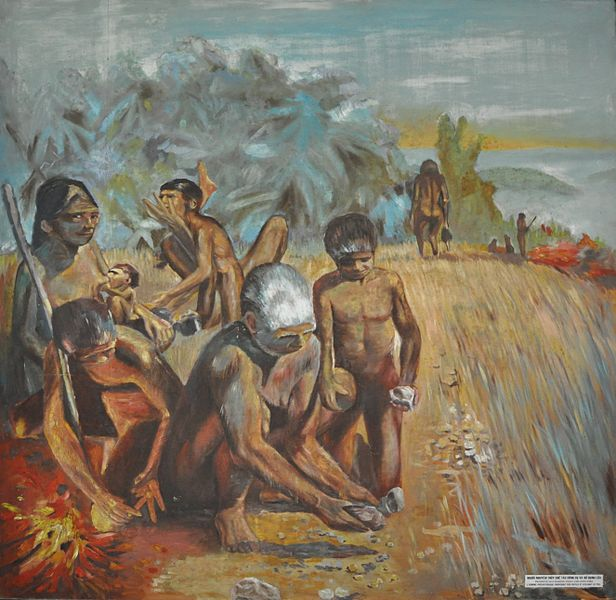 File:Primitive man making tools and using fire at the Museum of Vietnamese History.JPG