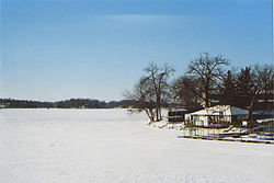 View of Prior Lake during winter