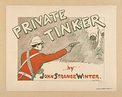"A man in bright red uniform points a pistol at two men hiding behind bushes. It is accompanied by the text ""Private Tinker by John Strange Winter""."