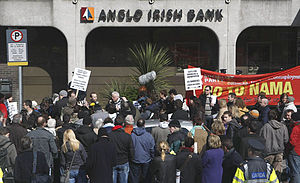 Post-2008 Irish banking crisis - Protestors outside Anglo Irish Bank during protests against the bank bailout in April 2010