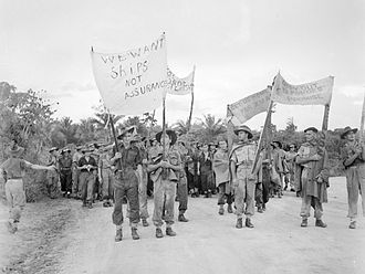 Post–World War II demobilization strikes - Long-serving Australian military personnel at Morotai protesting in December 1945 about delays in their repatriation to Australia and demobilization. 4,500 men took part in the protest.