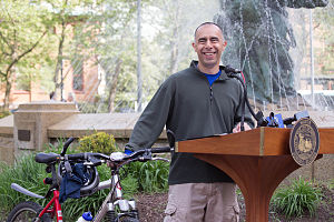 Jorge Elorza - Elorza addresses a Bike-to-Work Day gathering in Burnside Park, May 15, 2015.
