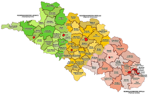 Province of Lower Silesia - 1905 administrative map of Silesia, showing Lower Silesia in green, Middle Silesia in yellow, and Upper Silesia in pink