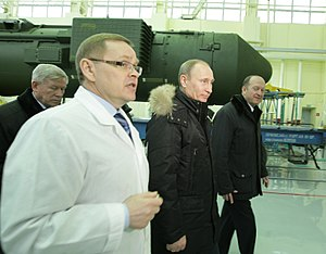 Votkinsk Machine Building Plant - Prime Minister Vladimir Putin touring the Votkinsk plant on 21 March 2011 with a Topol-M ICBM in the background