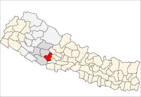 Pyuthan District i Rapti Zone (grå) i Mid-Western Development Region (grå + lysegrå)