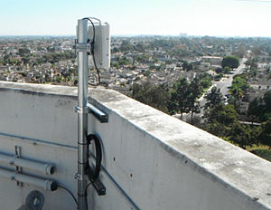 Point-to-point (telecommunications) - A point-to-point wireless unit with built-in antenna at Huntington Beach, California.