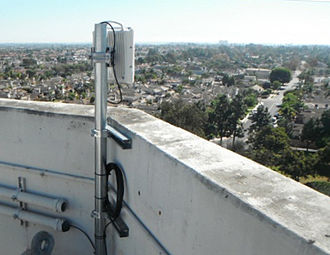 Point-to-point (telecommunications) - A point-to-point wireless unit with built-in antenna at Huntington Beach, California