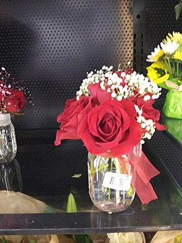 RED ROSES AND BABY'S BREATH