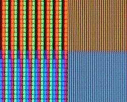 (Pic 2) Beginilah jika cara pixel tadi jika diterapkan ke layar untuk menghasilkan warna berbeda
