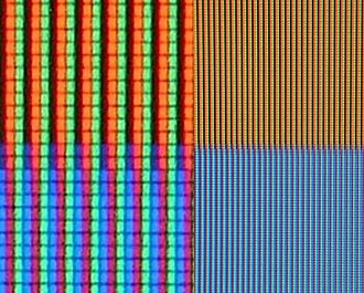 RGB color model - RGB sub-pixels in an LCD TV (on the right: an orange and a blue color; on the left: a close-up)