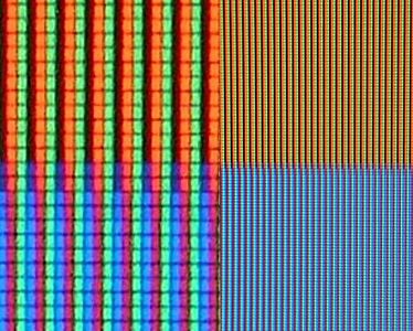 ffe0d34586e Blue and orange pixels on an LCD television screen. Closeup of the red