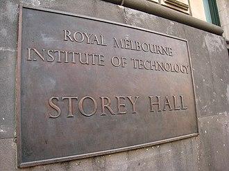 Storey Hall - Image: RMIT Story Hall Plaque