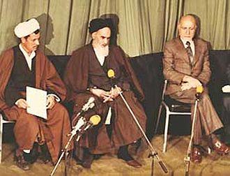 Mullah - Hojjatoleslam Akbar Hashemi Rafsanjani, Ayatollah Ruhollah Khomeini, and Prime Minister Mehdi Bazargan.