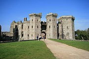 Raglan Castle's main entrance