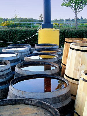 Catchwater - Rain barrels are man-made barrels that collect and store rainfall for commercial and recreational usage such as water a garden or washing a car. They can be made out of metal, plastic, or wood. They are connected to a buildings rain spout.