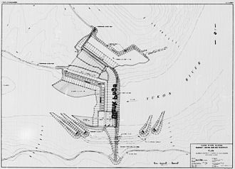 Rampart Dam - An architectural drawing of the final Rampart Dam plan, created by the U.S. Army Corps of Engineers.