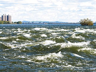 rapids in the Saint Lawrence river at Lachine, Quebec
