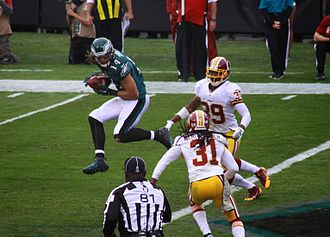 Riley Cooper - Riley Cooper catches a pass vs. the Redskins during the Eagles 24-16 victory on November 17, 2013.