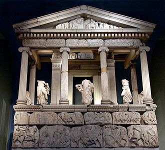 Xanthos - A partial reconstruction of the Nereid Monument from Xanthos in the British Museum.