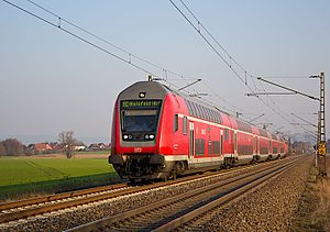 Regional-Express - German Regional-Express train operated by Deutsche Bahn near Minden