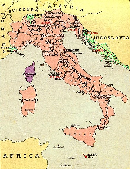 Italia Irredenta: regions considered Italian for ethnic, geographic or historical reasons, and claimed by the Fascists in the 1930s: green: Nice, Ticino, and Dalmatia; red: Malta; violet: later claims extended to Corsica, Savoy and Corfu. RegioniIrredenteItalia.jpg