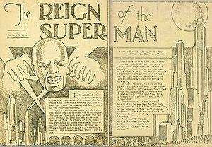 "Zine - ""The Reign of the Superman,"" a short story from the 1933 zine Science Fiction: The Advance Guard of Future Civilization, which led to the creation of the comic book hero Superman."